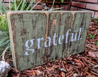 GRATEFUL Wooden Sign, Shelf Sitter, Secret Compartment, Rustic Wall Art