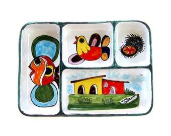 Vintage Hand-painted Divided Dish by Sicilian Ceramist, Nino Parrucca Signed