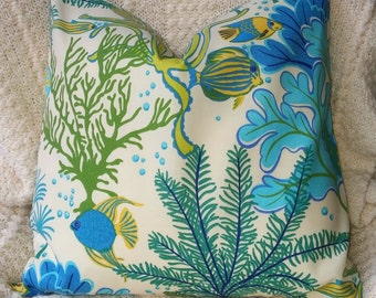SALE Our Best Seller Turquoie  Tropical Fish Pillow Cover-Housewares-Home Decor-Beach Indoor Outdoor