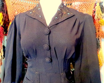 40s L/XL Black Dress with Corded/Beaded Trim