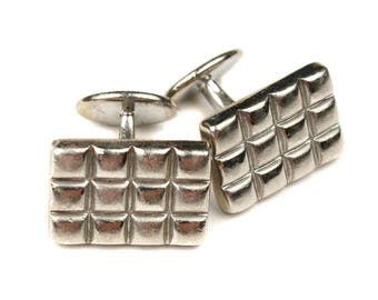 vintage sterling silver cuff links • squared grid