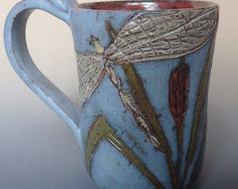 Stoneware Clay Handmade Mug with Handcarved Dragonfly Design Limited Production