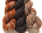 Naturally Orange with Contrast, Polar Opposites...Canon Hand Dyes Bruce Yak Self Striping Merino Sock Yarn