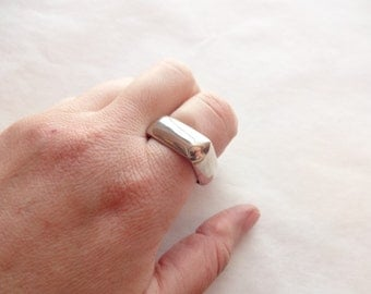 19 Gram Sterling Silver Square Ring Band Size 10 1/2 or 11