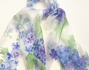 Delphiniums hand painted silk scarf.  Silk scarves handpainted.   Blue Delphiniums