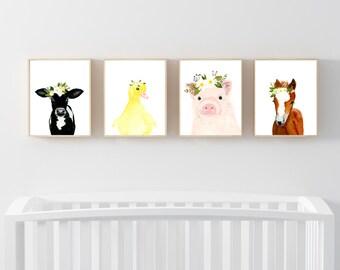 Farm babies set of 4 prints, Animal Paintings,calf, piglet, foal, duckling ,baby shower gift, nursery, Nursery prints, Kids wall art