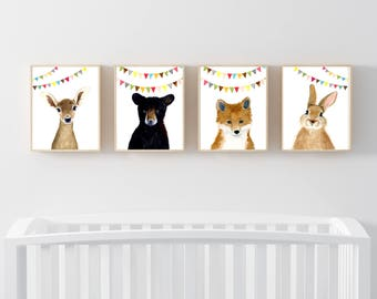 Woodland babies, Set of 4 Prints, Animal Paintings, fox, bear, fawn, rabbit ,baby shower gift, nursery  decor, Nurseryprints, Kids wall art