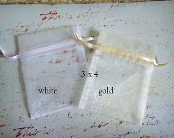 Organza Bags, Organza Pouch, White Organza Bags, White Organza Pouch, Fabric Favor Bags, Organza Bags 3x4