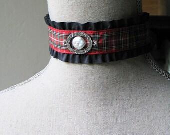 Celtic Tartan Choker / 18th Century Choker / Tartan Plaid / Outlander Inspired / Scottish Jewelry