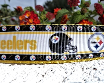"Steelers Dog Collar, 3/4"" or 1"" Quick Release or Martingale collar - NFL- see details for info - S - xl"