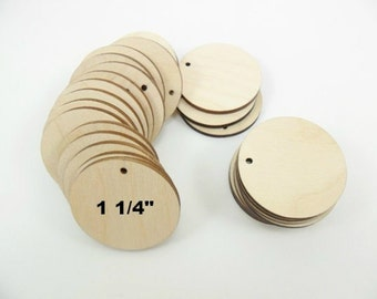 """Wood Earring Circle Pendant 1 1/4"""" x 1/8"""" Circle Wood Jewelry Making Supplies - 25 Pieces"""