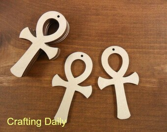 """Ankh Cross Wood Earring Blanks African Egyptian Breath of Life Symbol Dangle Earring Pendant 3"""" H Laser Cut Wood Jewelry Shapes - 12 Pieces"""