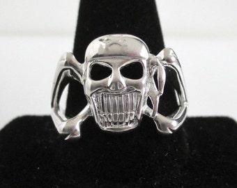 Skull 925 Sterling Silver Men's Ring / Band - Large, Size 14