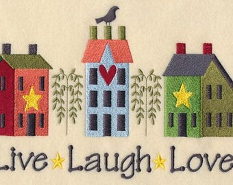 Live, Laugh, Love Saltbox Houses Quilt Block
