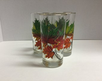 Vintage Fall Leaves Autumn Leaves Fall Leaf Autumn Glasses Drink Glass Set of 3