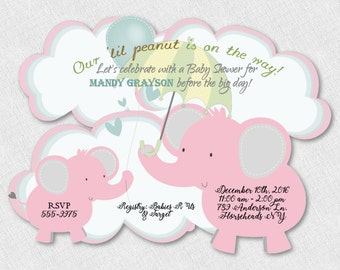 Girl Elephant Baby Shower Invitation, Boy Elephant Shower Invitation, Elephant Jungle Safari, Pink Elephant Invitations, Elephant Birthday