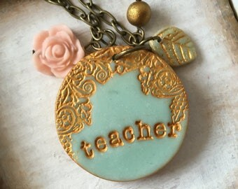 Teacher Necklace, Dear Teacher, Gift, Graduation gift for teacher