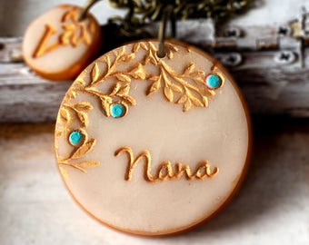Mother's Day 2017, Grandma Necklace, Nana, Grammy, Gigi, MawMaw, Abuela, Bubbie, Nanna, Nonnie, Stamped for Grammy with Grandkids Letters