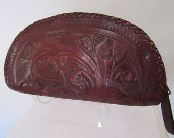 Vintage 1940s Tooled Leather Clutch
