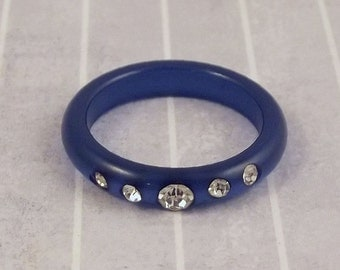 Vintage Electric Blue Lucite Ring, Inset Clear Rhinestones, Lightweight Plastic Band, Size 8.25, Casual Fun Jewelry