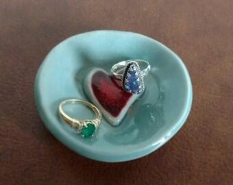 Heart Ring Dish, Handmade Engagement Gift, Love is Love, Heart Gift, Ceramic Ring Dish, Ceramic Heart, Tea Bag Holder, Jewelry Dish