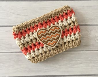 Heart cup cozy, orange cup cozy, coffee cup cozy, Thanksgiving cup cozy, coffee cup sleeve, crochet cozie, planner supplies, cup cozy