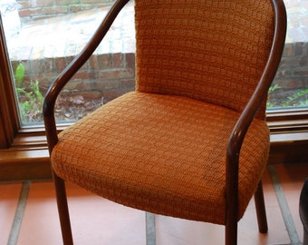 4 Ward Bennett Walnut upholstered arm chairs Brickel Associates