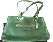 Vintage COACH Handbag Green LEATHER Numbered EXCELLENT !