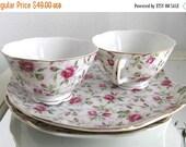 Lefton China Snack Set Rose Chintz Cups Plates Cottage Chic Paris Apartment