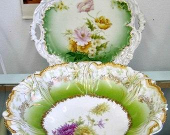 Antique Dresden Bowl - Serving Plate - Cottage Chic Serving - Home Decor - Dresden?
