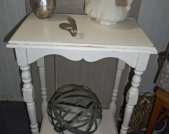 SALE: Vintage Furniture, Small Table, White, Solid Wood, Cottage, Bedroom, Living Room