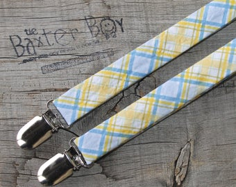 Blue and Yellow diagonal plaid little boy matching suspenders - photo prop, wedding, ring bearer, Easter