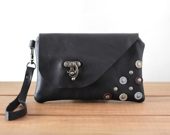 Black Leather Bag - Leather Wristlet Wallet with Rivets - Genuine Leather Bag - Cell Phone Purse - Wristlet Clutch - Small Leather Pouch