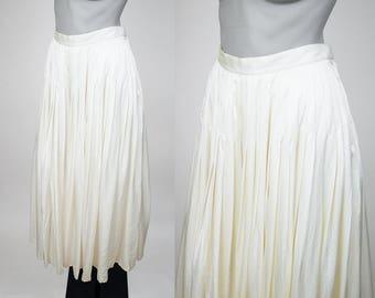 Vintage 80s Skirt / 1980s Cream Silk Pleated Midi Skirt M
