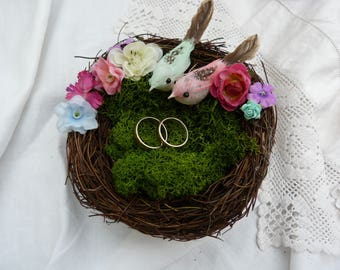Love bird nest ring bearer pillow- with a pair of colourful lovebirds -moss and flowers - larger size - country wedding