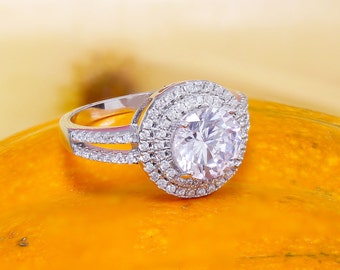 14k White Gold Round Cut Diamond Engagement Ring Halo Deco Antique Style, Bridal Style, Wedding, Prong Set,  2.10ctw G-SI1 EGL USA