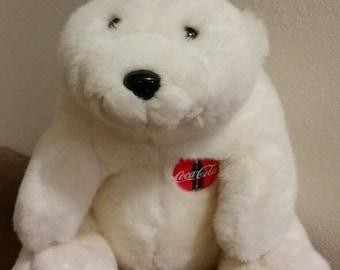 Large Plush Coca Cola polar bear, 1990s vintage bears, advertising memorabilia