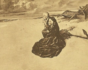 After the Storm by Wm Balfour-Ker Antique Postcard Poignant Image Older Couple on the Beach – Poignant Image on Antique Art Postcard