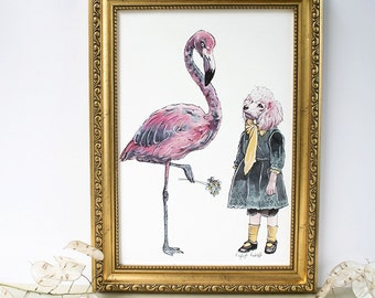 Pink poodle with a pink flamingo with forget-me-not flowers art print. Art for dog lovers. Mothers day/Birthday/Christmas gift.