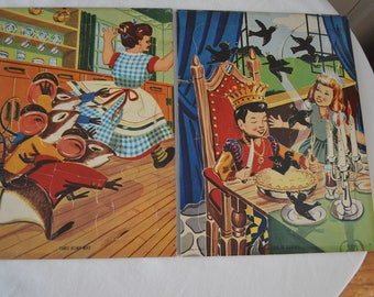 Vintage Mother Goose Frame-Tray Inlaid Puzzle Boxed Set of 2, Sing-a-song of Sixpence and 3 Blind Mice