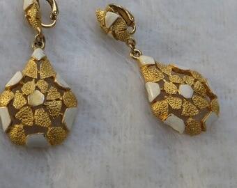 Enamel and  Metal Vintage Clip on Earrings White Enamel and Gold Tone Metal Drop Earrings Tear Shaped Metal Clip on Vintage Earrings