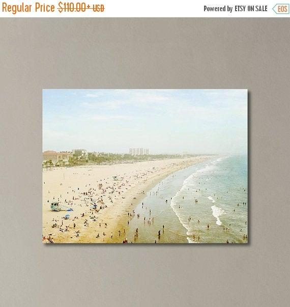 "SALE Santa Monica Canvas Wall Art, California Decor, Coastal Living, Large Canvas Art , Beach Gallery Wrap, Extra Large Art ""Summertime Memo"
