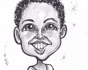 Mothers Day Gift/Caricature/Black and White
