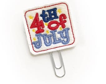4th of July tag planner clip / organizer clip /  Paperclip / Planner Bookmark - Paperclip Bookmark - Planner Clips