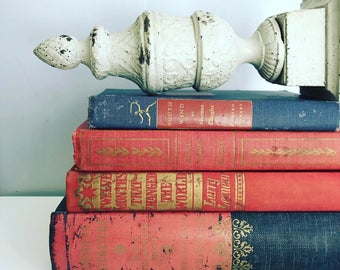 Red, Navy & Gold  Books Instant Library Collection Decorative Books Photography Props American USA Patriotic Vintage Book Stack