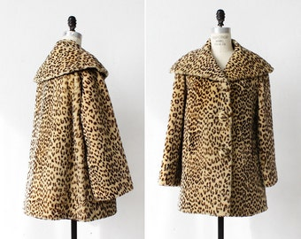 Faux Fur Coat M • Leopard Coat • 50s Coat • Swing Coat • Leopard Jacket • Trapeze Coat • Winter Coat • Fur Coat Faux  | O313