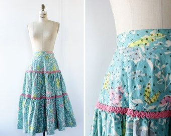 50s Circle Skirt S • Spring Skirt • Mexican Circle Skirt • Tiered Skirt • Vintage Circle Skirt • Cotton Skirt • High Waisted Skirt | SK745