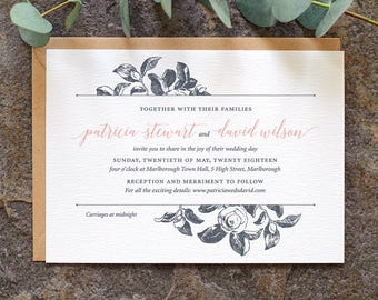 Botanical Wedding Invitation / 'Vintage Rose' Modern Calligraphy Simple Wedding Invite  / Slate Grey Blue Rose Pink or Custom / ONE SAMPLE