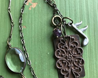Assemblage jewelry | Filigree Pendant Necklace | Music note jewelry