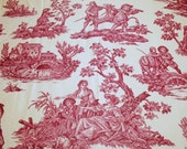 """French Toile Fabric   Lovely Raspberry Red on Ivory Vintage French Country Scenes Toile - 36"""" Wide, 3-3/4 Yards Long"""